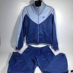Nike vintage 1980's retro track suit two tone blue
